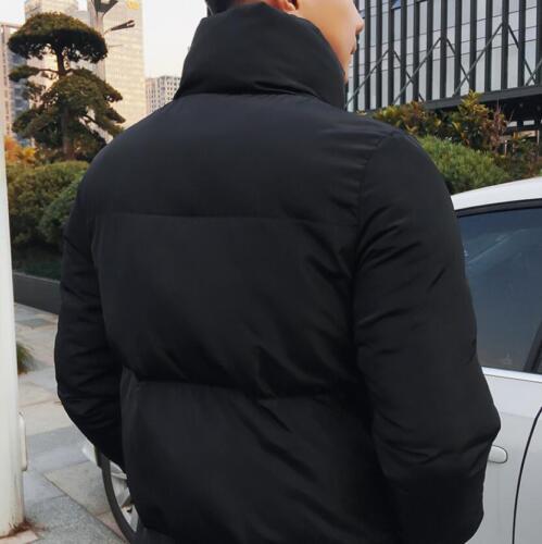 Mens Winter Long Down Coat Hooded Warm Korean Jacket Loose Slim Cotton Outwear