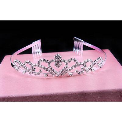 Sparkle Tiara Rhinestone Crystal Crown Comb Wedding Bridal Headband Silvery