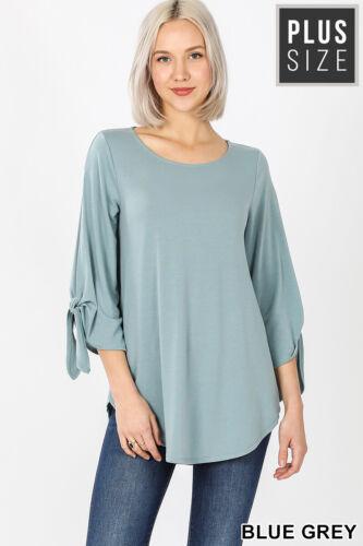 Zenana Blue Gray Open 3//4 Sleeve Top with Tie Longer Length Plus Sizes NWOT