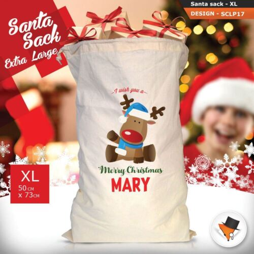 Personalised Reindeer Christmas Santa Sack Gift Pink Girl Boy Stocking !
