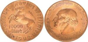 Westphalia 10000 1923 Mark On Not Gold Plated Kupferschrötling XF