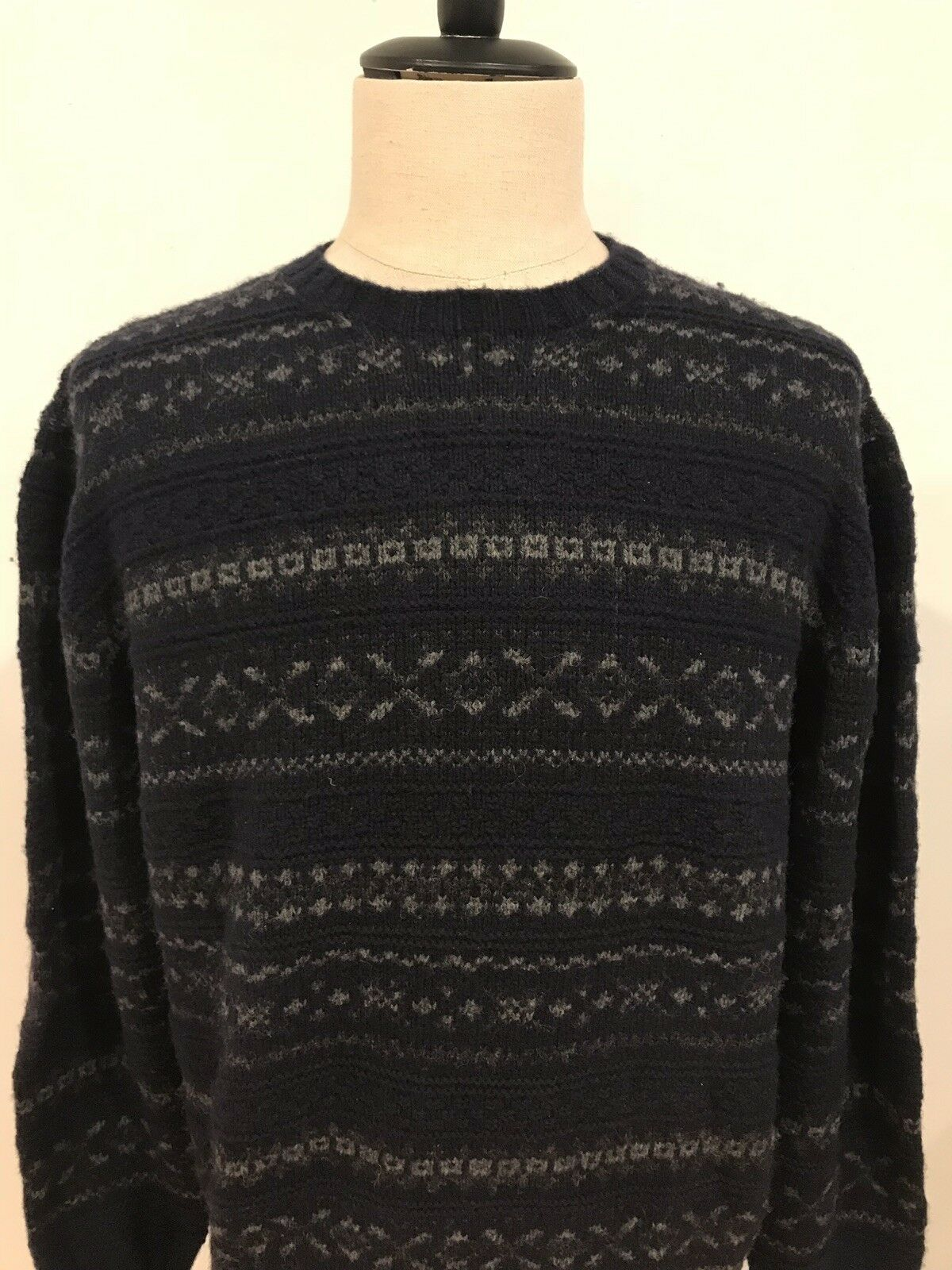 Ralph Lauren Mens 100% Lambswool Handknit Fair Isle Sweater Size Large