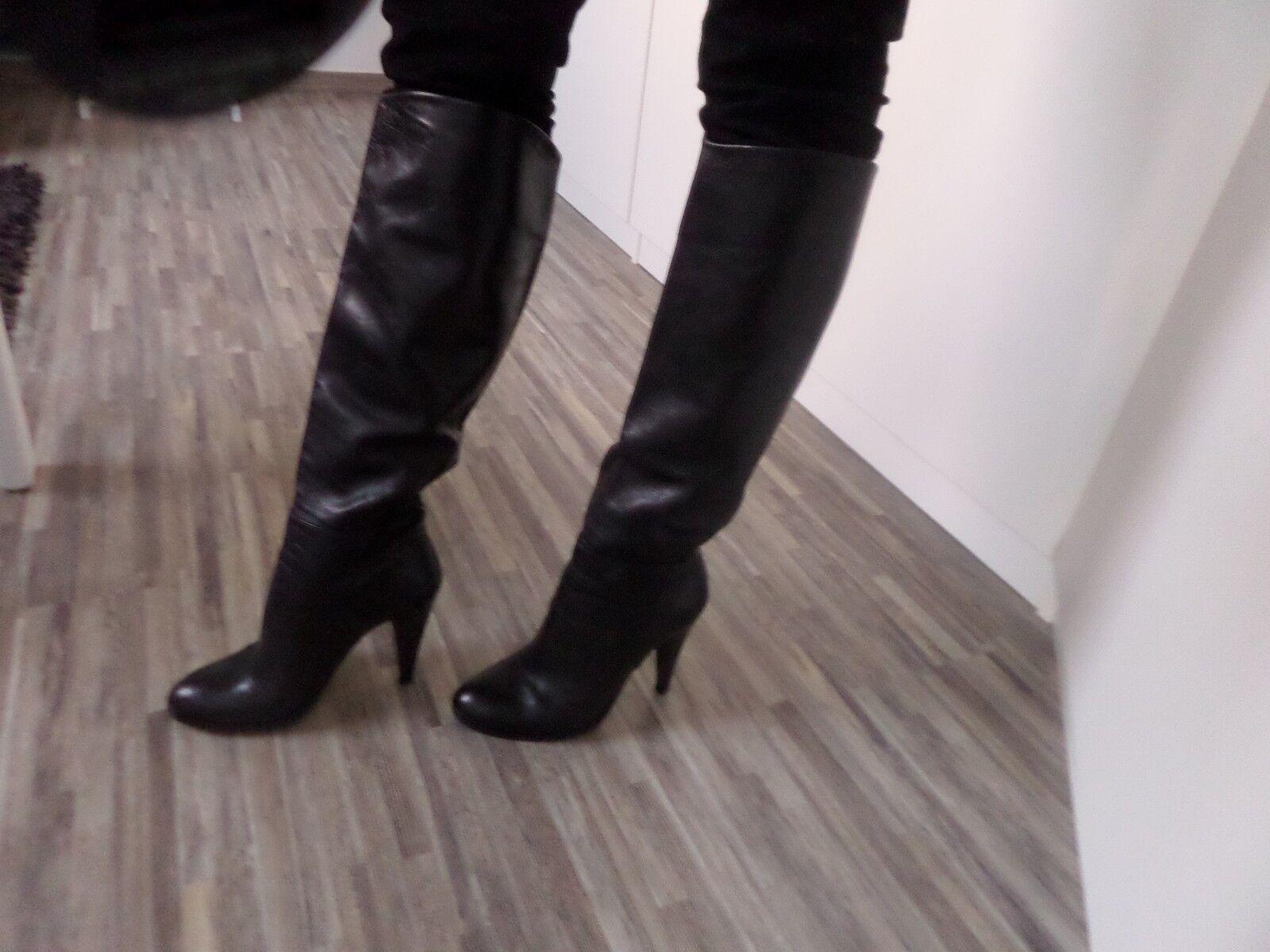 Bottes cuir noir René Lezard 38.5 high heels 329EUR schwarz Leder Stiefel 5 329EUR heels 1b3531