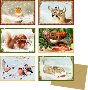 A-set-of-6-very-mini-Animal-advent-Advent-miniature-cards-Coppenrath-8-5x6cm