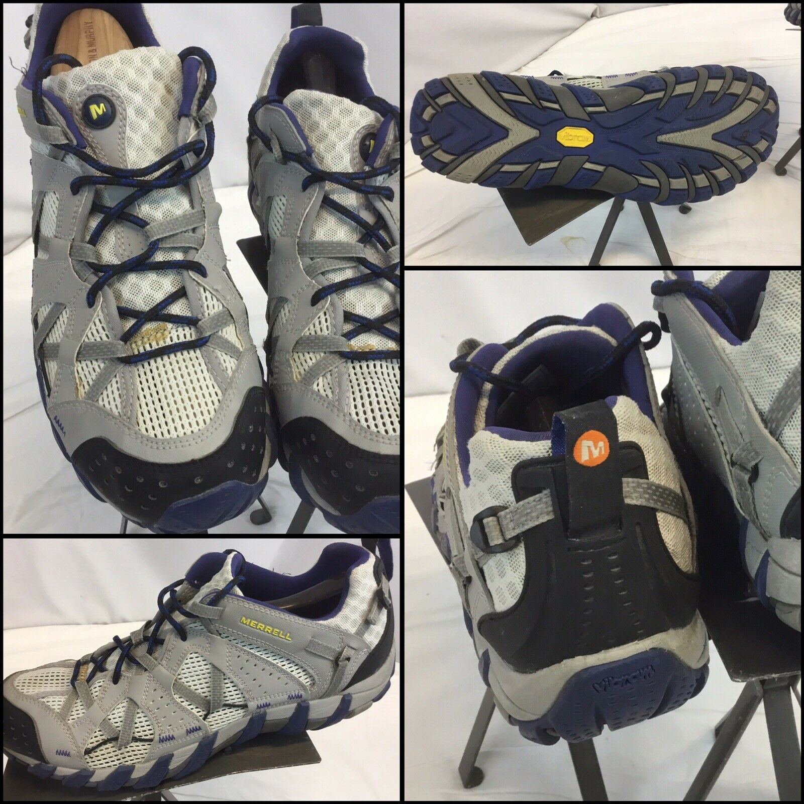 Merrell Drizzle senderismo zapatos talla 10 hombres suelas Vibram gris usado dos veces ygi B9S-40