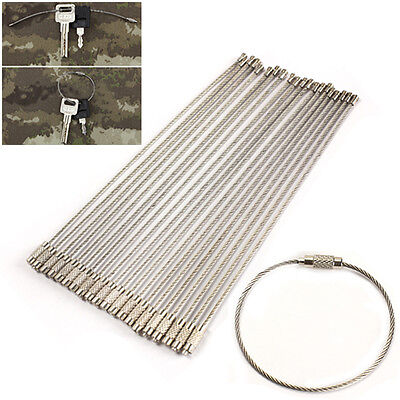 20x Stainless Steel Wire Rope Keychain Cable Key Ring for Outdoor Hiking Gear T