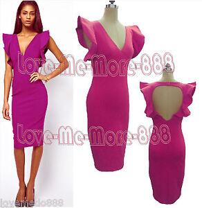 da1f3da80a7 Women Ruffle Open back Celebrity STRETCH BODYCON Slim Fit MIDI Dress ...
