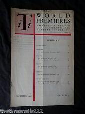 INTERNATIONAL THEATRE INSTITUTE WORLD PREMIER - DEC 1958 VOL 10 #3