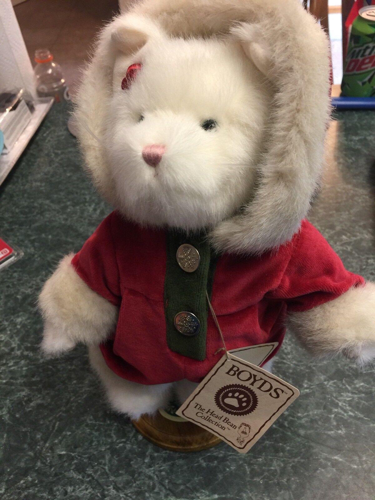 Boyds Bears Plush SNOWBALL MCPUSSKINS   93637V BEST DRESSED SERIES W STAND