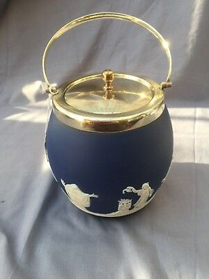 Amiable A Superb Antique Adams Tunstall Jasper Ware Biscuit Barrel C1896 Crease-Resistance blue & White