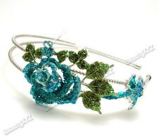 NEW Flower Blue Austrian Crystal High Quality Metal Roses Headband 8002
