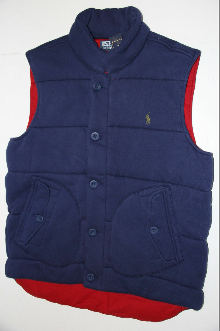 Ralph Lauren Down Puffy Warm  Fleece Vest bluee  Red Vest men  LT L TALL
