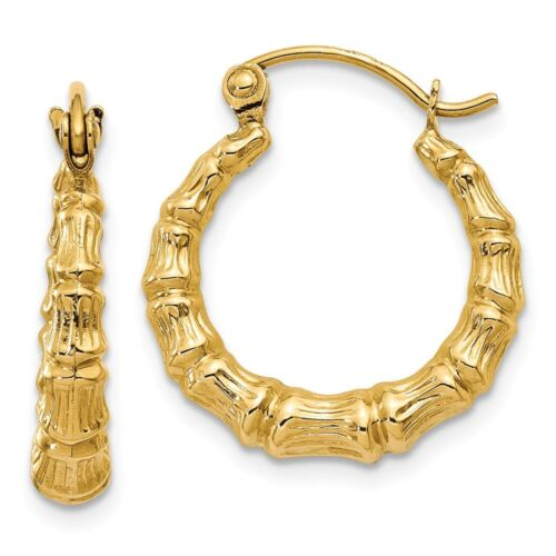14kt Yellow Gold Polished Bamboo Design Hollow Hoop Earrings