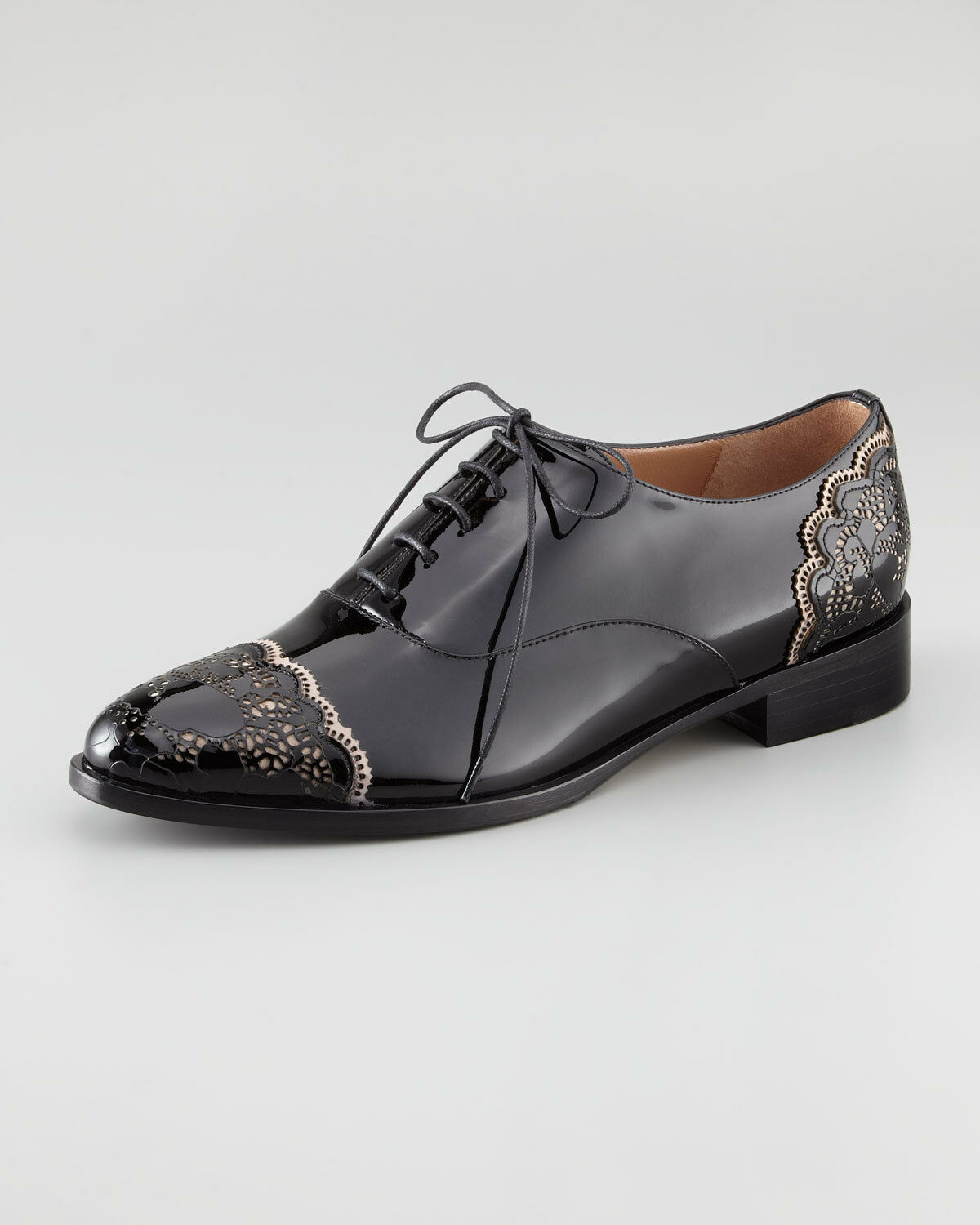 Valentino Patent Leather Lace Oxfords Flats shoes 38,5 US 8,5 NIB