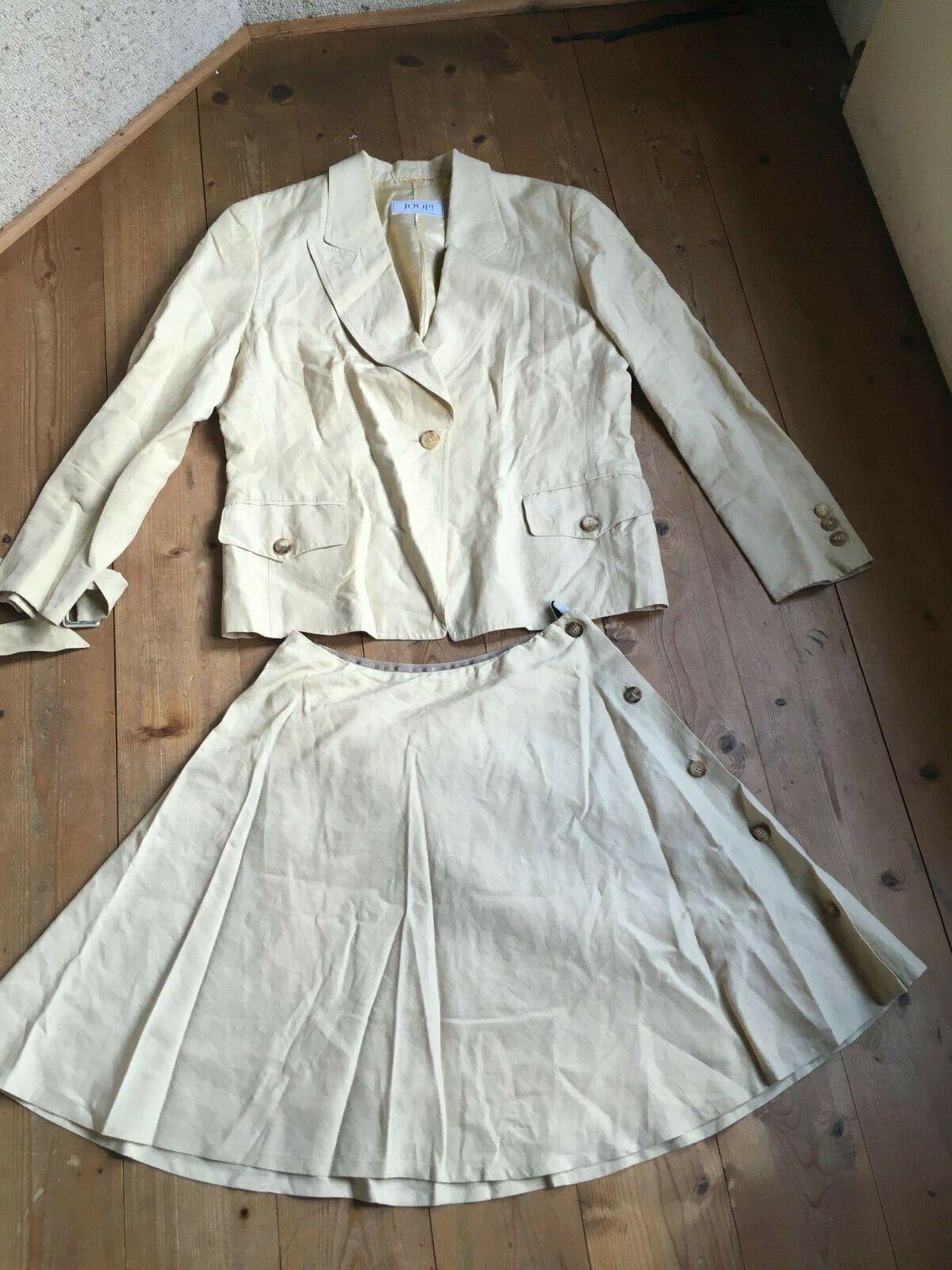 Traje JOOP plato falda  envoltura óptica chaqueta Safari champager lino seda 38 40  barato