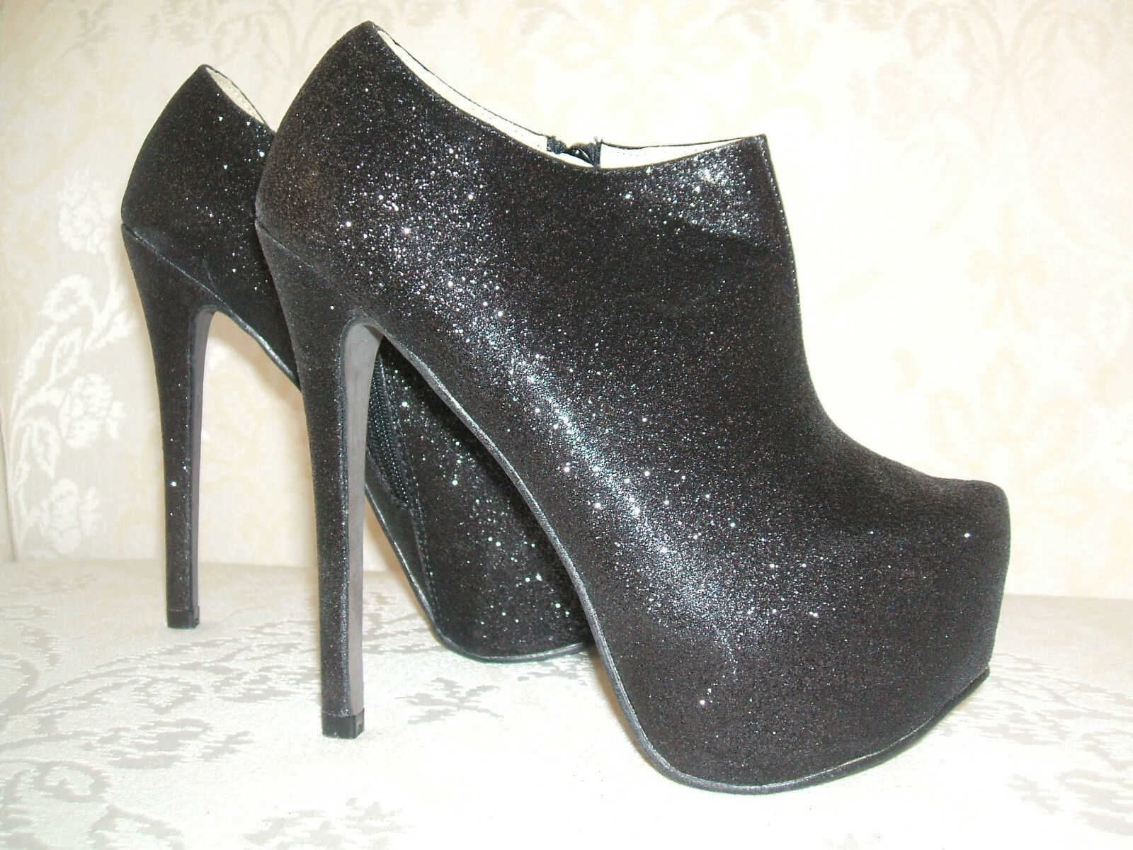 BNWB SIZE 2.5 /  3  36 BLACK GLITTER SPARKLY HIGH HEEL ANKLE SHOE BOOTS SHOES