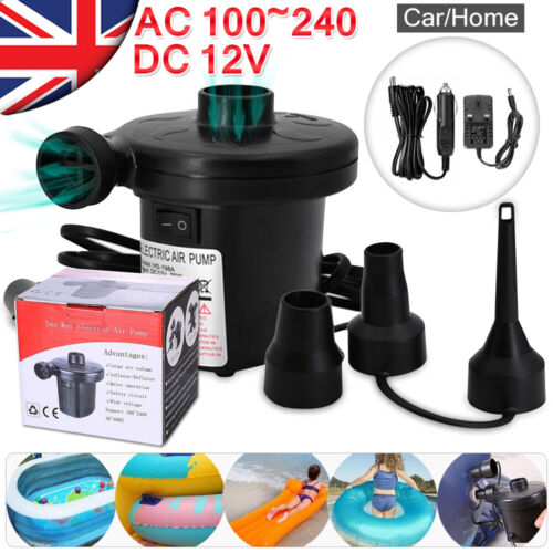 Electric Air Pump Inflator 3 nozzles for inflatables Air Bed Home Car 240V 12V