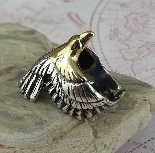 Golden Eagle  3D  Solid 925 K Sterling Silver Mens Ring Edelstein open end