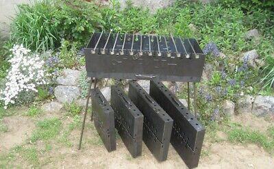 10 Spieße Mangal Grill mit Spießdreher Batteriemotor Schaschlik Set Tourist