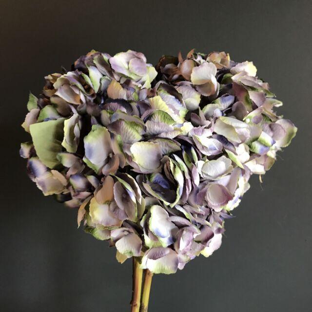 3 Extra Large Purple Blue Green Faux Silk Hydrangea Realistic Artificial Flowers
