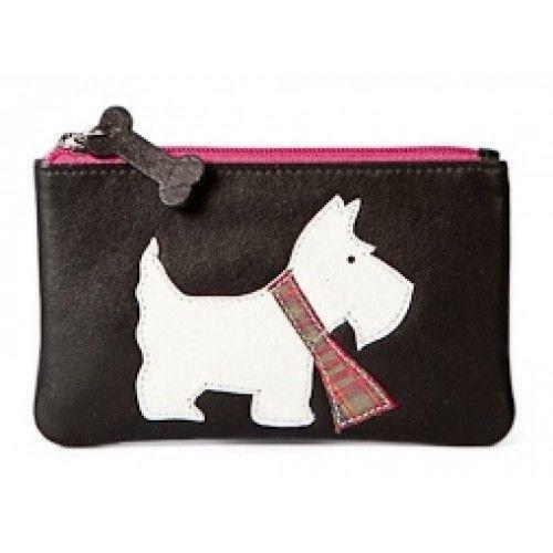 Black Leather Zip Top Coin Pocket Purse with Scottie Dog Applique by Mala