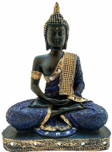 Dark Blue Black Sitting Buddha Idol Statue Showpiece For Home Office Car Decor