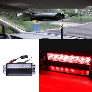12V 8W Super Bright Car White 8LED Vehicle Dash Warning Strobe Flash Light Metal