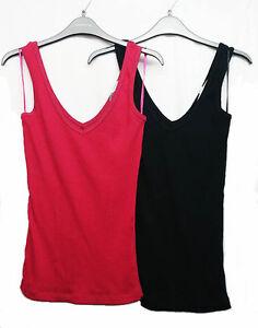 Womens-Ladies-Plain-Black-100-Cotton-Ribbed-Vest-Top-Tank-Debenhams-Size-8-12