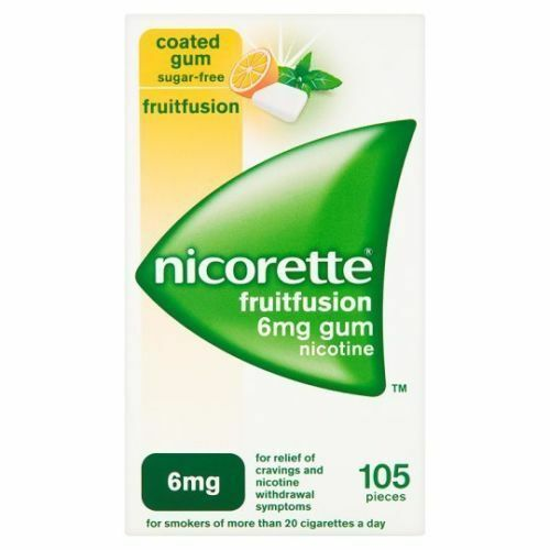 Nicorette Fruitfusion 6mg 105 Gum Pieces Fruit Fusion EXP 03/2019 Quit Smoking