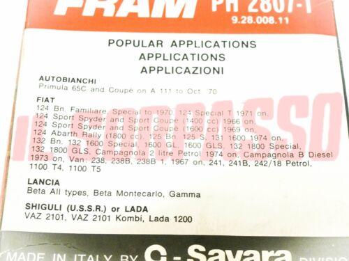 FILTRO OLIO  FRAM FIAT 124 BERLINA SPECIAL T COUPE SPIDER 125 132 LANCIA BETA