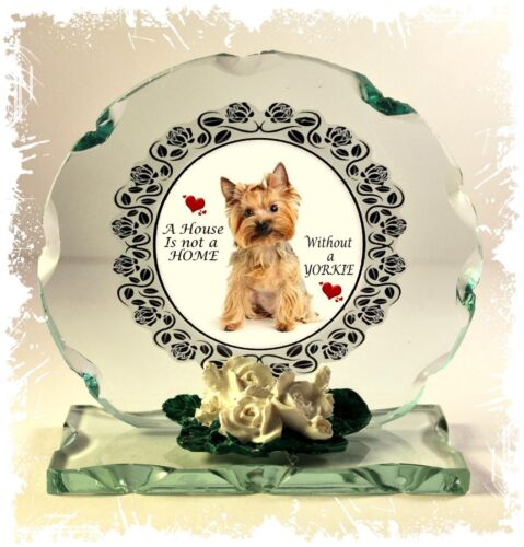 Yorkshire Terrier a House is not home Collectable crystal Cut glass Plaque #8