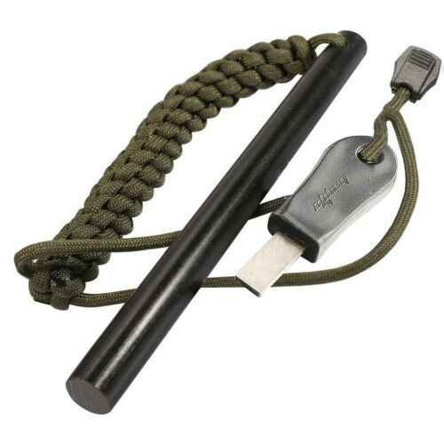 bayite Survival Drilled Flint Fire Starter with OD Green Paracord Landyard 6 ...