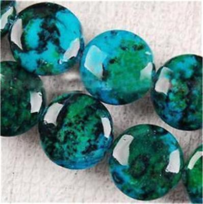 "12mm Azurite Chrysocolla Coin Gemstones Loose Beads 15"""