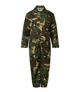 Kids Army Camo Overall BoilersuitBoys Girls Camouflage Coverall