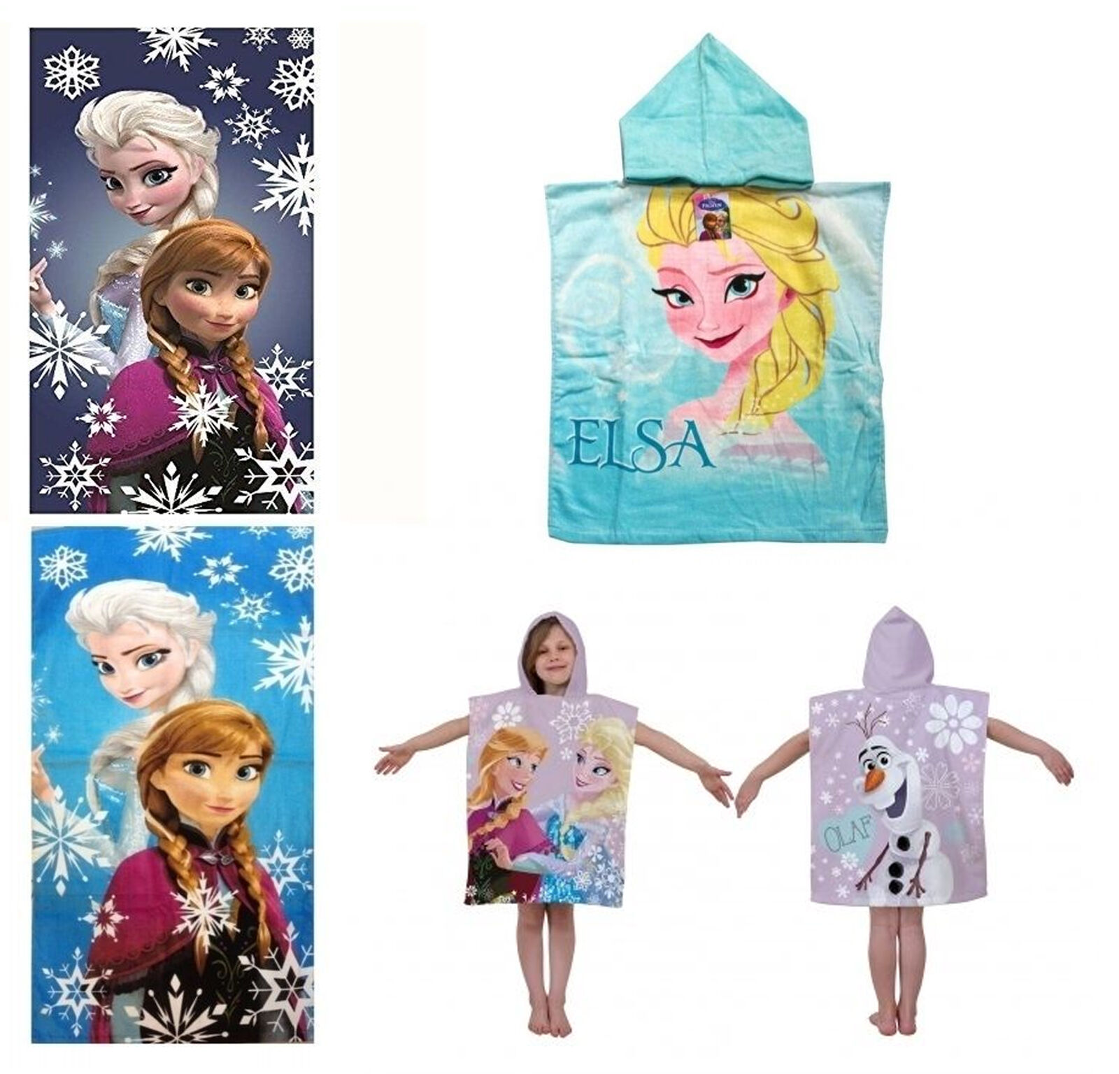 disney eisk nigin princess anna elsa olaf bedruckt urlaub strandtuch poncho neu ebay. Black Bedroom Furniture Sets. Home Design Ideas