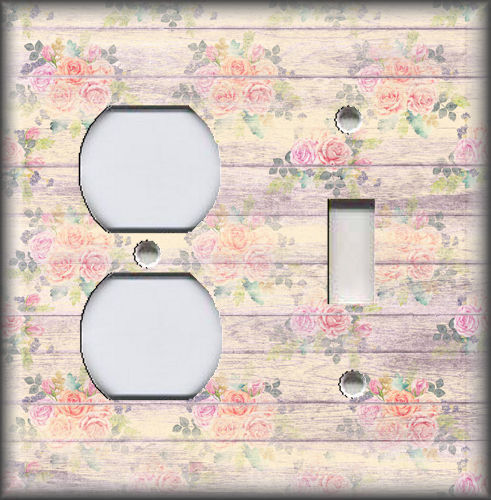 Metal Switch Plate Covers Yellow Rustic Wood Shabby Chic Decor Floral Design
