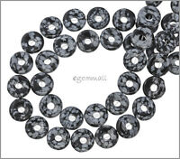 16 Snowflake Obsidian Donut Round Beads 12mm 89032
