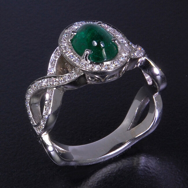 Natural EMERALD Engagement Wedding Eternity 14K White Woman gold Ring WE-69
