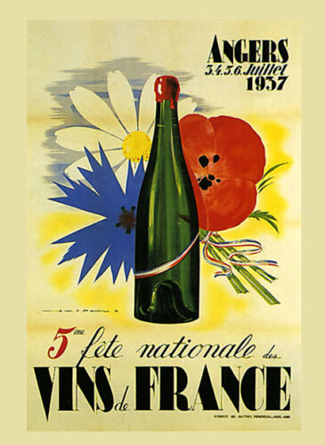 French Wine Angers Bar 1937 Flowers France Vintage Poster Repro FREE S//H in USA
