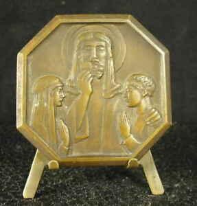 Medaille-religieuse-c1950-Hostie-Christ-celebration-de-l-039-Eucharistie-Medal