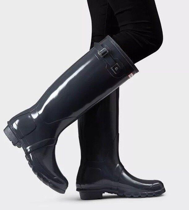 Hunter 'Original Tall' Dark Slate Glossy Rain Boots Size 6US 37EU