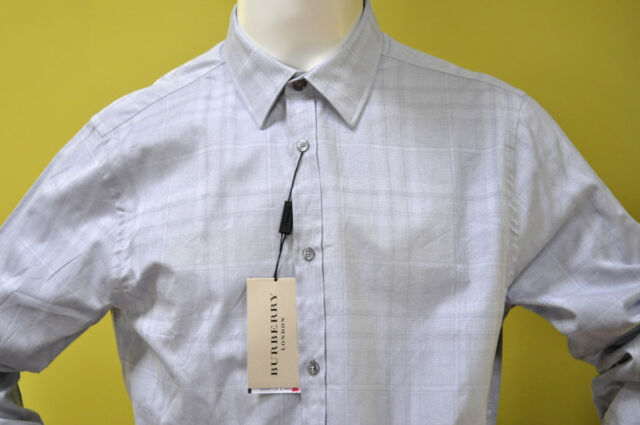 092e8daf0447 Frequently bought together. Burberry London mens grey check cotton dress shirt  size XL