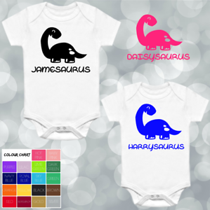 DINOSAUR PERSONALISED PRINTED BABYGROW VEST GIFT ANY NAME WORDS BABY SHOWER