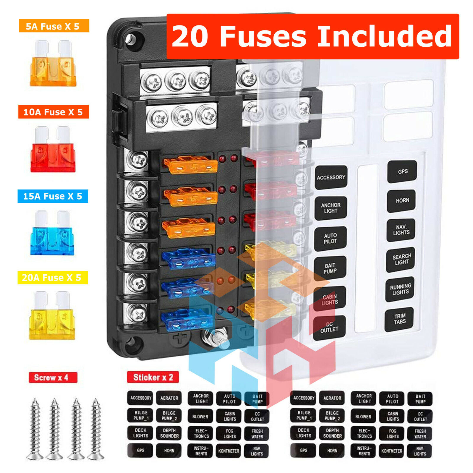 12-Way Blade Fuse Box LED Indicator for Blown Fuse Fuse Block for  Automotive for sale online | eBayeBay