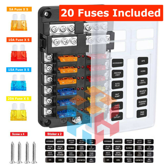 12-Way Blade Fuse Box LED Indicator for Blown Fuse Fuse Block for Automotive  for sale online   eBayeBay