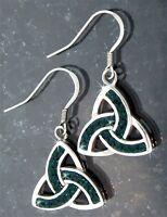 Celtic Emerald Green Trinity Stainless Steel Earrings