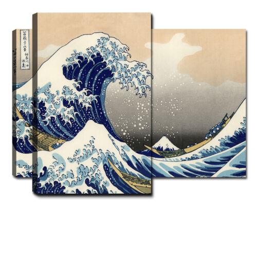 Quadri Moderni 2 Pz 80x60 3D Quadro Moderno Stampa Tela Canvas XXL Onda Hokusai