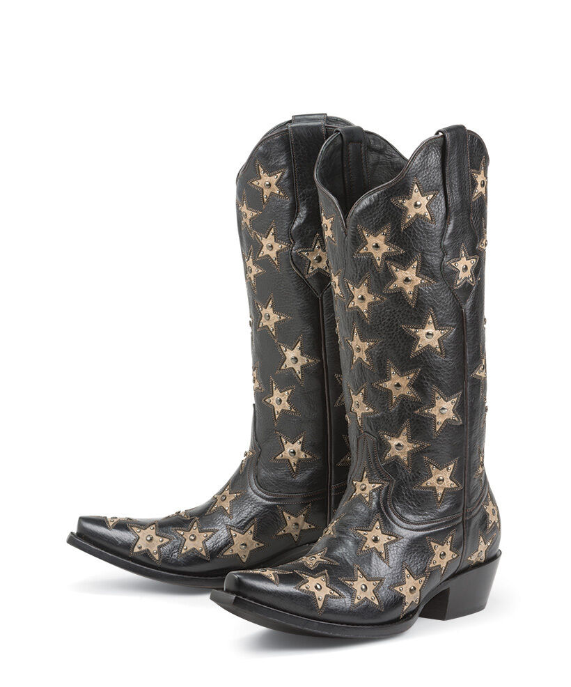 Black Star BRAZOS BLACK Womens Ladies Cowboy Cowgirl Boots New All Leather