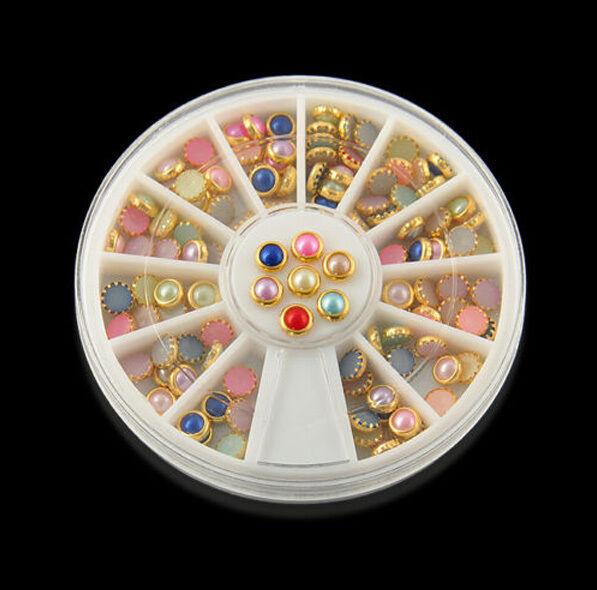 120Pcs Nail Art Pearls Studs Rhinestone 3D Acrylic DIY Tips Decoration + Wheel