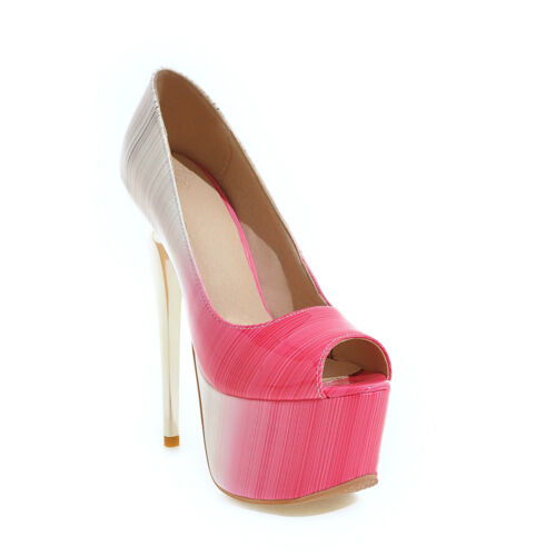 Ladies Peep Toe Shoes Synthetic Leather Platform High Heels Sandals US Size S992